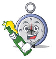with beer compass character cartoon style vector image
