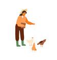 woman farmer holding bucket seeds and feeding vector image vector image