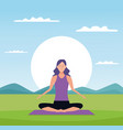 woman in yoga poses vector image