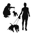 woman with a dog vector image vector image