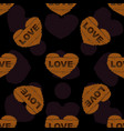 wooden heart seamless pattern vector image vector image