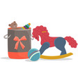 wooden rocking horse basket with toys ball toy vector image