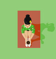 young beautiful asian woman and tea ceremony vector image vector image
