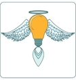 Glowing Light Bulb with Angel Wings Halo and a vector image