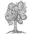 Zen Tangle flower tree with vector image