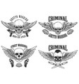 outlaw street warriors set of winged skulls with vector image