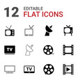 12 television icons vector image vector image