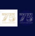 75 anniversary vintage silver gold vector image vector image