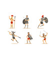 ancient warriors set greek roman and spartan vector image