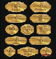 anniversary golden labels collection 90 years vector image vector image