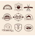 Barbershop Badges Set in Vintage Style vector image