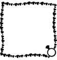 black and white retro border made of hearts with vector image vector image