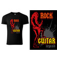 black t-shirt with hard rock guitarist vector image vector image