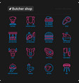 butcher shop thin line icons set vector image