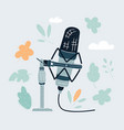 cartoon vintage microphone on vector image