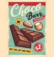 chocolate bars retro ad for candy store vector image