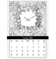 christmas wreath clock coloring book page vector image
