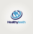 clean healthy teeth dental blue logo vector image