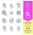 click - line icon set editable stroke vector image