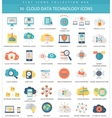 Cloud data technology color flat icon set vector image vector image