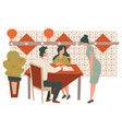couple eating at chinese restaurant waiter taking vector image