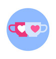 couple of cups with heart icon on blue round vector image vector image