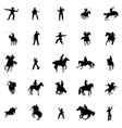 Cowboy silhouettes set vector image