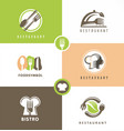 creative design set for healthy food restaurant vector image vector image
