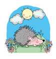 cute porcupine with happy sun and clouds vector image vector image