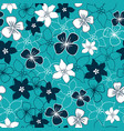 dark blue and white flower mix seamless pattern vector image vector image