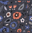 floral flat seamless pattern in scandinavian style vector image