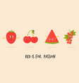 funny fruit characters strawberry sweet cherry vector image vector image