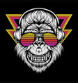 gorillagorilla headphone retro vector image vector image