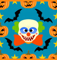 halloween background seamless with clown vector image