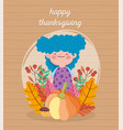 happy thanksgiving day cute girl blue hair with vector image