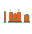 hotel buildings cartoon flat set vector image