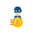 isolated bitcoin and hacker design vector image vector image