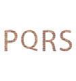 letters pqrs in bricks vector image vector image
