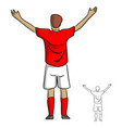 male soccer player in red jersey shirt spread the vector image vector image