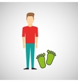 man symbol environment eco footprint icon design vector image