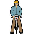 man with jackhammer vector image vector image