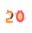 number twenty cartoon character for teaching vector image vector image