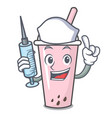 nurse raspberry bubble tea character cartoon vector image vector image