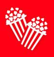 popcorn icon set cinema movie night icon two big vector image vector image
