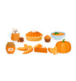 pumpkin food menu cartoon raw and cooked pumpkin vector image vector image