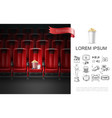 realistic movie theater concept vector image vector image