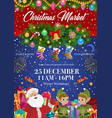 santa claus and elves christmas festive market vector image vector image
