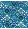 Seamless pattern with blue circles and floral vector image