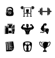 set bodybuilding icons with - dumbbell weight vector image