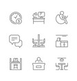set line icons co-working vector image vector image